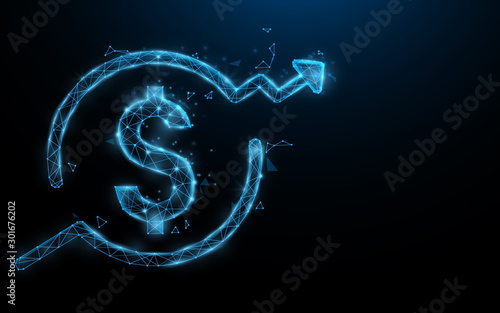 Dollar money sign growing up form lines, triangles and particle style design. Illustration vector