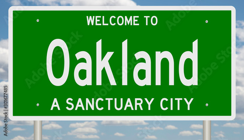 Rendering of a green 3d highway sign for sanctuary city Oakland California Tablou Canvas
