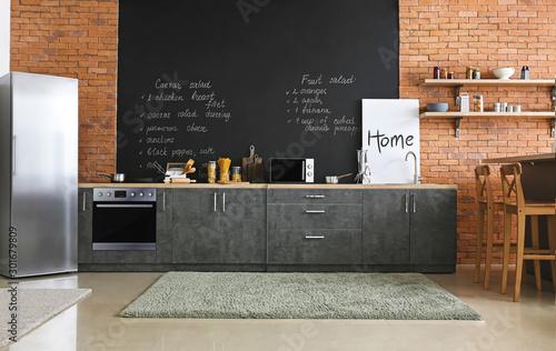 Obraz na plátně Interior of modern comfortable kitchen