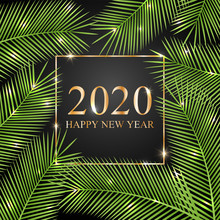 Golden Text 2020 Happy New Year. Tropical Card For Your Design. Vector Illustration.