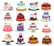 Wedding And Birthday Cakes Isolated Dishes, Dessert With Flowers And Fruits
