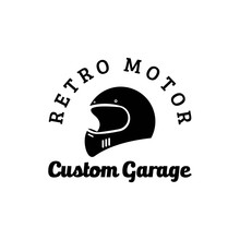 Vintage Retro Motorcycle Helmet Logo Vector Illustration