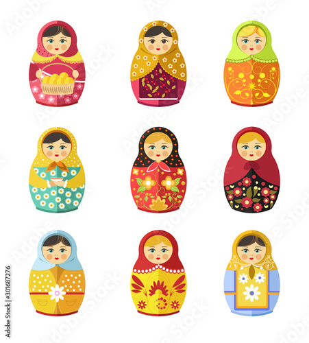 Matryoshka toy, Russian symbol or souvenir isolated icons Fototapet
