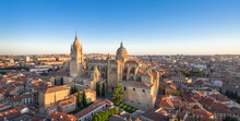 Panoramic Aerial Cityscape Of Salamanca, Spain With Building Of New Cathedral On Sunrise