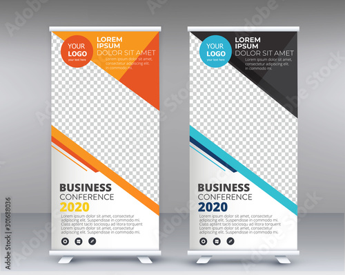 Fotomural  Modern Exhibition Advertising Trend Business Roll Up Banner Stand Poster Brochure flat design template creative concept
