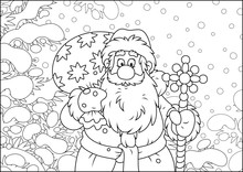 Santa Claus With His Bag Of Christmas Gifts Among Snow-covered Fir Branches Of A Winter Forest On The Cold Snowy Day, Black And White Vector Illustration In A Cartoon Style