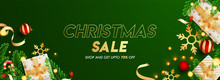 Green Header Or Banner Design Decorated With Gift Boxes, Baubles, Snowflake, Pine Leaves, Lighting Garland And 70% Discount Offer For Christmas Sale.