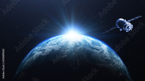 Obraz Earth planet sunrise with satellite viewed from space , 3d render of planet Earth, elements of this image provided by NASA - fototapety do salonu