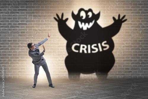 Cuadros en Lienzo  Businessman suffering from economic crisis