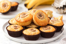 Banana Muffins On A White Plat...