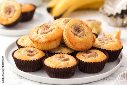 Obraz na plátně Banana muffins on a white plate
