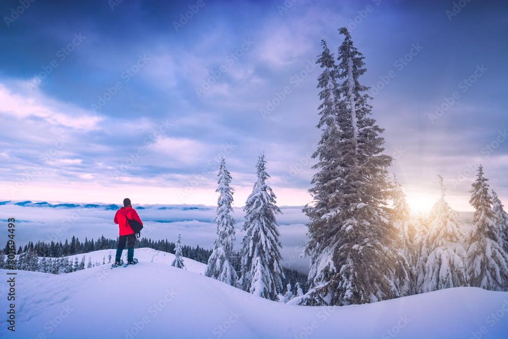 Fototapety, obrazy: Active man enjoy carpathian winter landscape