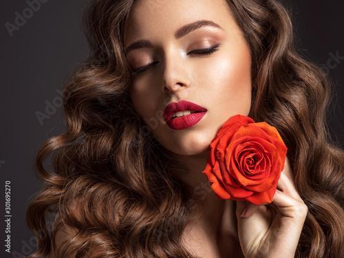 Obraz na plátně  Beautiful woman with brown hair
