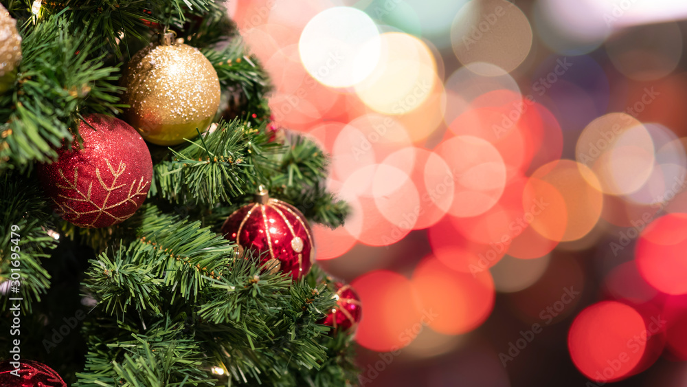 Fototapety, obrazy: Christmas tree with decorations and lights background
