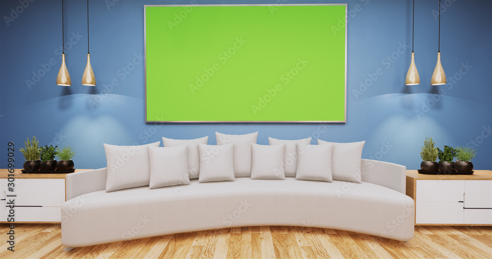 Fototapety, obrazy: Living Room with whiteboard on wall room color blue.3D rednering