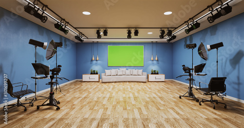 Obraz na plátně News studio blue room design Backdrop for TV shows.3D rendering