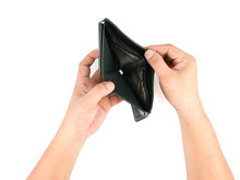 Male Hand Asian Open Empty Wallet After Unemployed, Isolated On White Background, Concept Business Currency And Finance Lack Of Liquidity