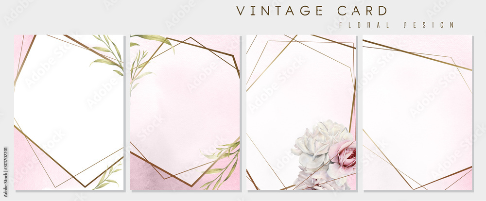 Fototapeta Set of greeting cards with flowers, can be used as invitation card for wedding, birthday and other holiday and  summer background. Botanical art. Watercolor. Gold frames