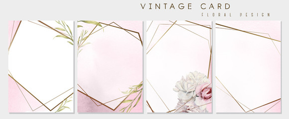 Set of greeting cards with flowers, can be used as invitation card for wedding, birthday and other holiday and  summer background. Botanical art. Watercolor. Gold frames