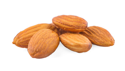 Closeup of almonds, an isolated on the white background, clipping path