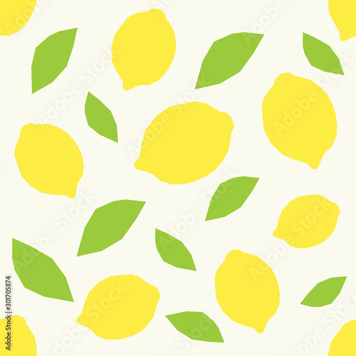Seamless pattern with lemon and leaves. Abstract pattern. Vector illustration. - 301705874