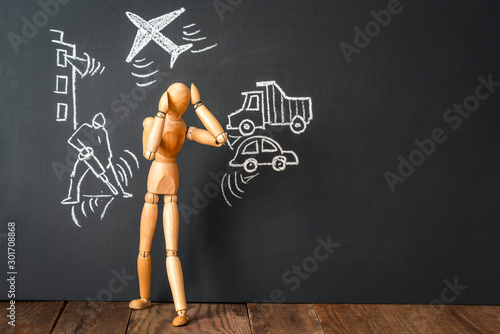 Wooden man covering ears with fingers Canvas Print