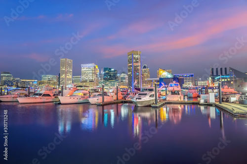 Fototapeta View of Inner Harbor area in downtown Baltimore Maryland USA