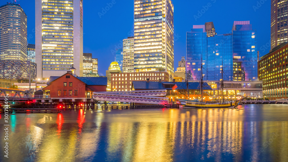 Fototapety, obrazy: Boston Harbor and Financial District at twilight, Massachusetts