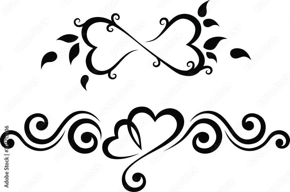 Fototapety, obrazy: Tribal Tattoo Black and White Wedding Set