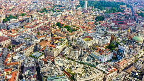 Autocollant pour porte Milan Milan, Italy. Roofs of the city aerial view. Cloudy weather, Aerial View