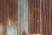 Rusted Galvanized Iron Plate, Red Stain On Old Metal Sheet Wall Texture.