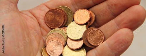 Canvastavla eine Hand voll Kleingeld