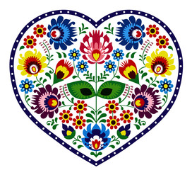 Panel Szklany Do restauracji Beautiful, colorful heart. Folk ornament on a white background.