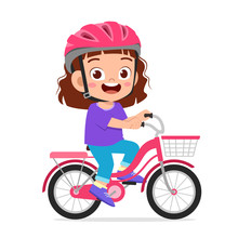 Happy Cute Kid Girl Riding Bik...