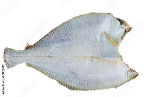Fototapeta  Diseboweled and beheaded fresh raw flatfish isolated on white background