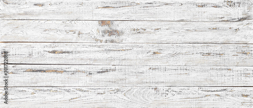 Poster Retro white wood texture background, wide wooden plank panel pattern