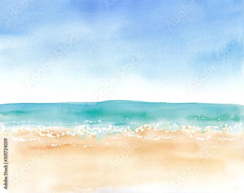 青空と砂浜と水平線、水彩イラストのトレースベクター Wall mural