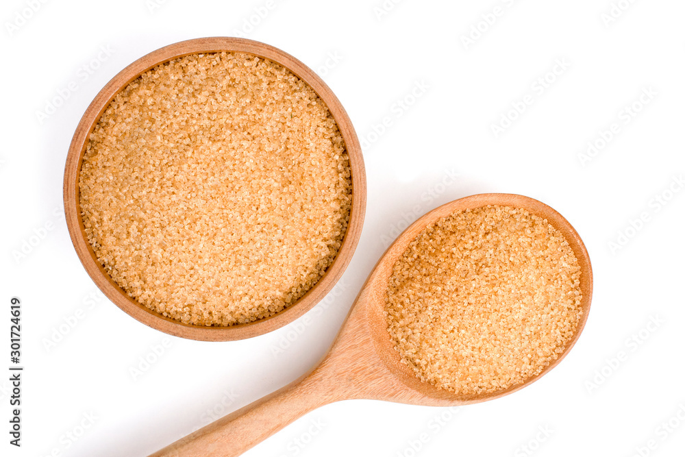 Fototapety, obrazy: Closeup brown sugar in wooden bowl and spoon isolated on white background . Unhealthy diet ,awareness and stop diabetes concept. Top view. Flat lay.