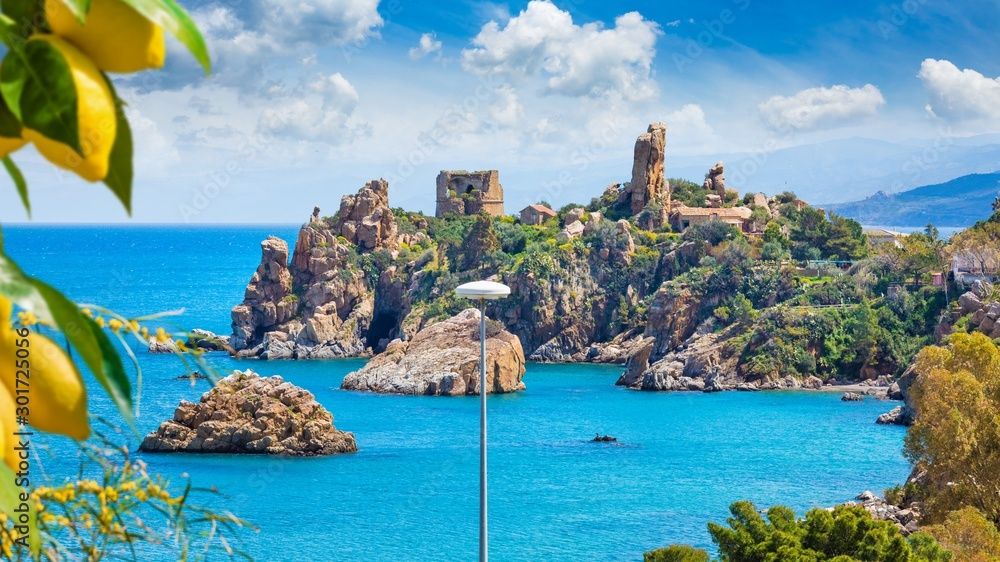 Fototapety, obrazy: Caldura Tower is one of coastal watch towers in Cefalu located on Cape Caldura near Presidiana Harbour, Sicily, Italy.