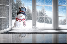 Blurred Winter Window And Free Space For Your Decoration.