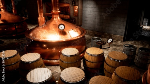 Recess Fitting Alcohol The premises of the brewery with boilers, in which the cooked wort. Old brewery. 3D Rendering