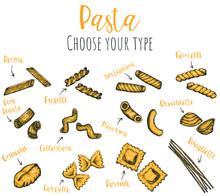 Pasta Types Hand Drawn Vector ...