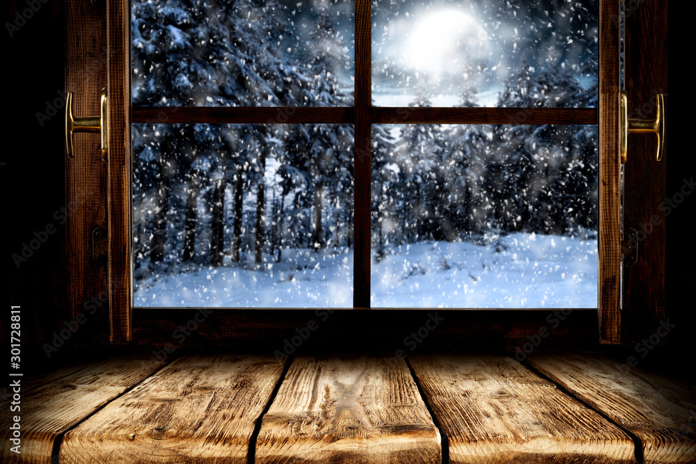 Fototapety, obrazy: Blurred winter window and free space for your decoration.