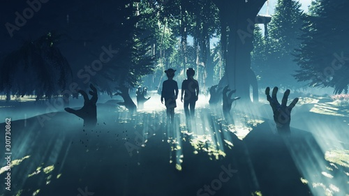 Photo  Little children walk through a dark mysterious misty swamp forest landscape