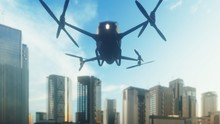 An Unmanned Passenger Drone Has Flown In To Pick Up Its Passenger On A Cloudy Day. Unmanned Air Taxi. 3D Rendering
