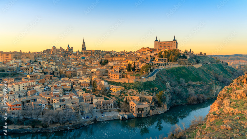 Fototapeta Panoramic view of beautiful sunset over the old town of Toledo. Travel destination Spain