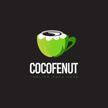 Logo Cocofenut, With Mcoconut Like As Cup Coffee Vector