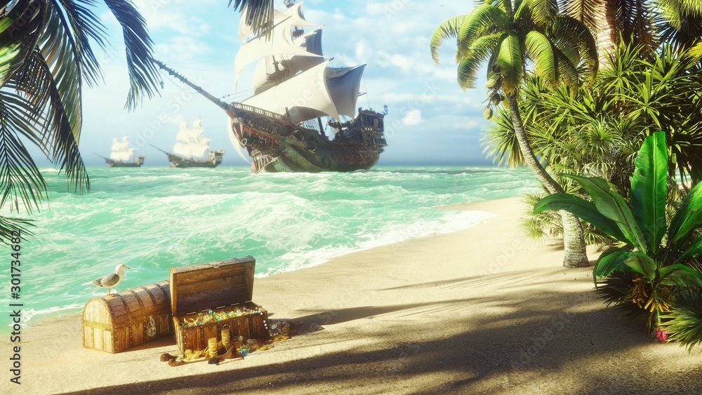 Fototapety, obrazy: Sand, sea, sky, clouds, palm trees and a clear summer day. Pirate frigates docked near the island. Pirate island and chests of gold. 3D Rendering