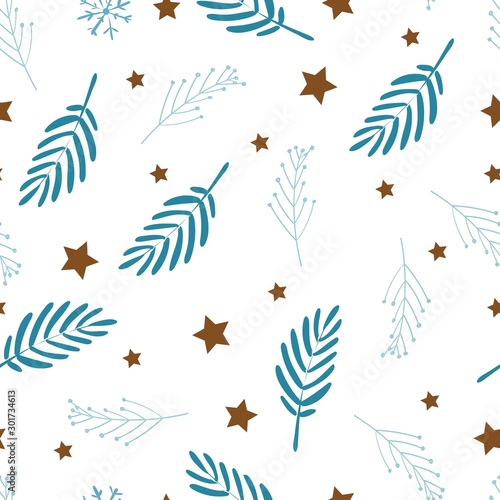 Photographie  Delicate seamless pattern on white background