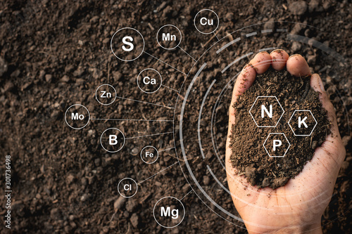 Loamy soil that is rich in man's hands and has iconic technology about soil nutrients that are essential to cultivation Canvas